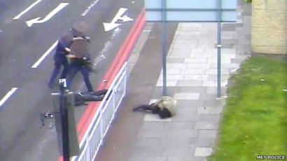 Armed police shooting attackers