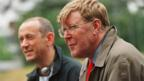 Director Nicholas Hytner and writer Alan Bennett on the set of The History Boys