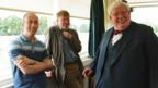 Director Nicholas Hytner, writer Alan Bennett and star Richard Griffiths on the set of The History Boys