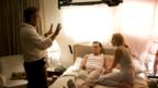 Director Sam Mendes, Leonardo DiCaprio and Kate Winslet on the set of Revolutionary Road