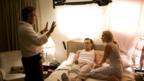 Director Sam Mendes, Leonardo DiCaprio and Kate Winslet on the set of Revolutionary Road