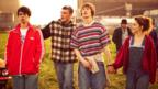 Adam Long, Jordan Murphy, Elliott Tittensor and Emilia Clarke in Spike Island