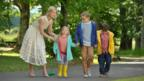 Rosamund Pike, Harriet Turnbull, Emilia Jones and Bobby Smalldridge in What We Did On Our Holiday