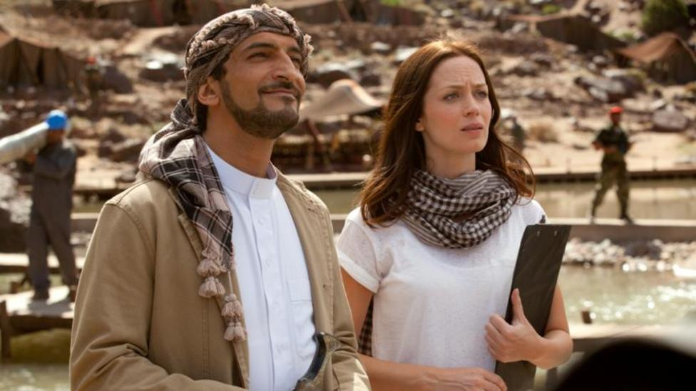 Amr Waked and Emily Blunt in Salmon Fishing In The Yemen