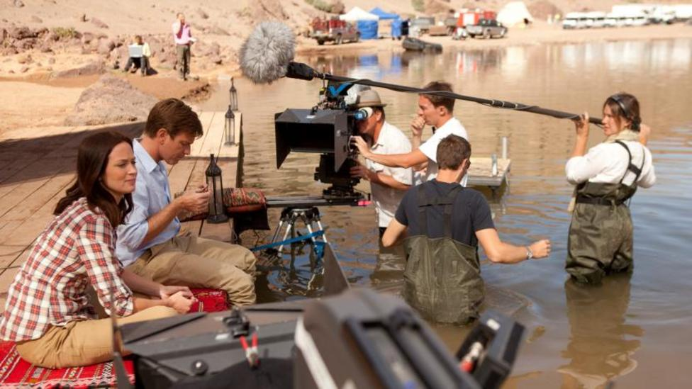 Cast and crew on the set of Salmon Fishing In The Yemen