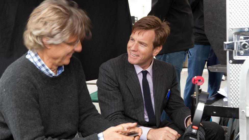 Director Lasse Halstrom and Ewan McGregor on the set of Salmon Fishing In The Yemen