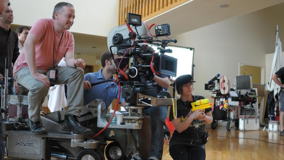 Lynne Ramsay and crew on the set of We Need To Talk About Kevin