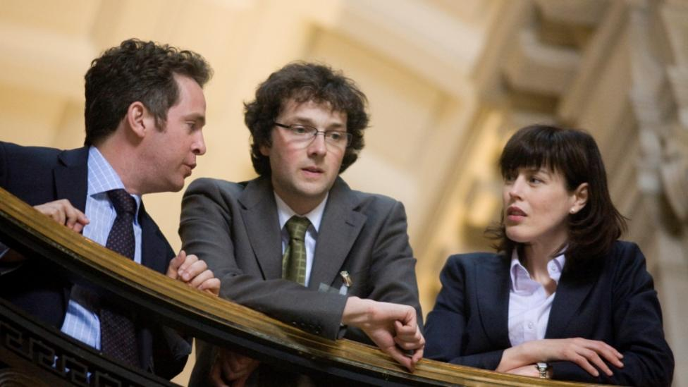 Tom Hollander, Gina McKee and Chris Addison in In The Loop
