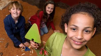 Children digging for treasure