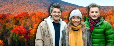 Martin, Michaela and Chris from autumnwatch standing next to each other wrapped up warm in jackets and scarves. There are autumnal leaves in the background.