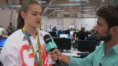 Blue Peter - Olympic medalist wears her Sport badge!