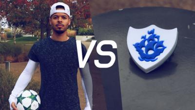 Blue Peter - Can Jezza hit a BP badge with a football?
