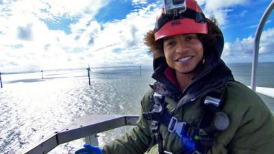 Blue Peter - Radzi climbs up a wind turbine