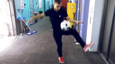 Blue Peter - How to do The Crossover (freestyle football trick)