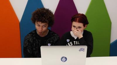 Blue Peter - Lindsey and Radzi play Geo's Gym