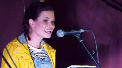 Blue Peter - Lindsey performs her poem at WOMAD Festival