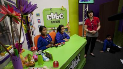 Children experiencing the interactive tour at the BBC in MediaCityUK