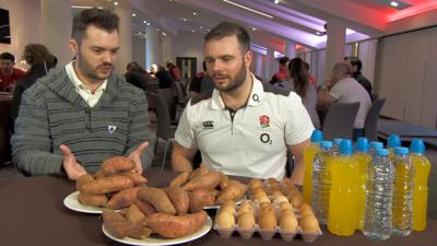 Blue Peter - Guess how much a rugby player eats in one day?