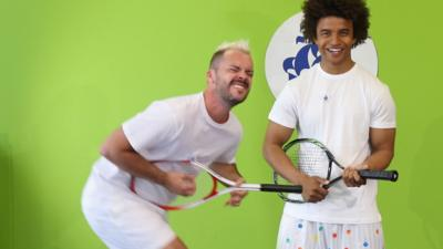 Blue Peter - Who is the best at tennis racket air guitar?