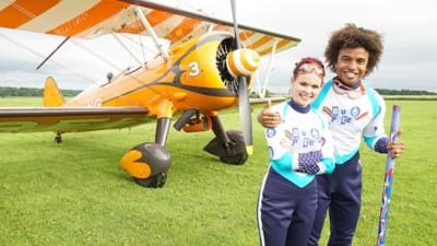 Blue Peter - The wing walking baton pass