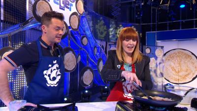Blue Peter - Former presenter Yvette Fielding re-attempts a pancake flip!