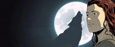 An illustrated Jana next to a moonlit silhouette of a wolf.
