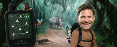 Steve Backshall in front of various animals in the Deadly Defenders game.
