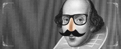 Shakespeare wearing glasses and a fake mustache.