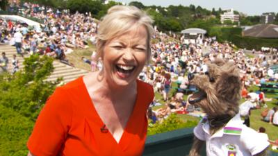 CBBC Office - Hacker Meets Carol Kirkwood at Wimbledon