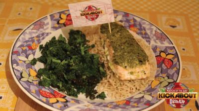 MOTD Kickabout - Baked Pesto Salmon with Brown Rice