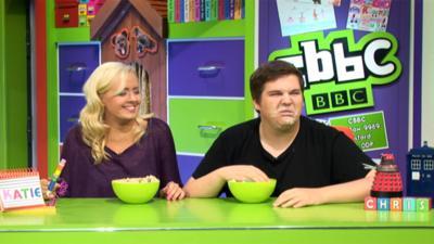 CBBC Office - Chris and Katie dip their faces in mouldy porridge