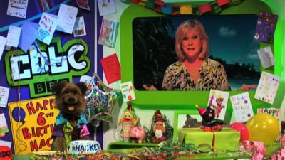 CBBC Office - Sue Barker surprises Hacker