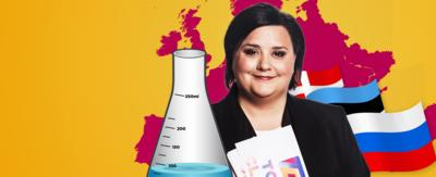 A lady (Susan Calman) in front of three European flags and a European map with a scientific beaker in front of her.