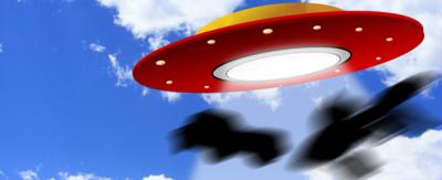 A UFO and some shadowy objects.