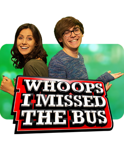 Myles, Laura and the Whoops I Missed the Bus logo.