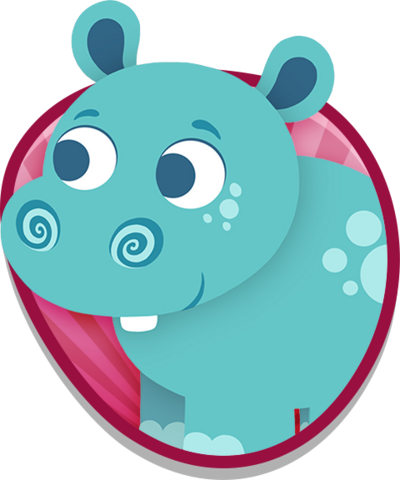 A blue hippo.