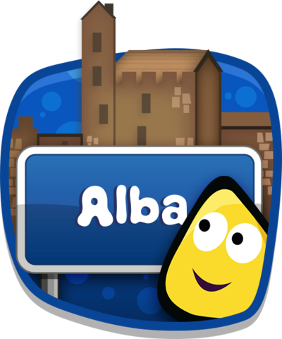 A CBeebies bug in front of an Alba sign.