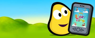 A CBeebies bug and smart phone featuring the Storytime app.