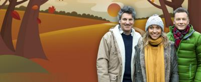 Autumnwatch presenters on an illustrated CBeebies autumn background