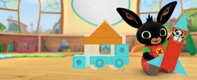 Bing Bunny with building blocks.
