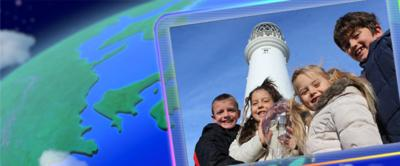 A screen displaying the Go Jetters: Radio Recruits from Flamborough Lighthouse.