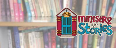The Ministry Of Stories logo in front of books on a bookshelf.