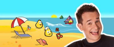 Alex in front of a seaside scene with a shell and a deckchair.  Two CBeebies bugs on the sand and one in a boat.