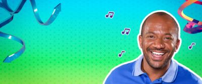 Craig from The Let's Go Club surrounded by colourful swirls and musical notes.