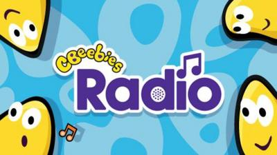 CBeebies Radio logo and yellow bugs