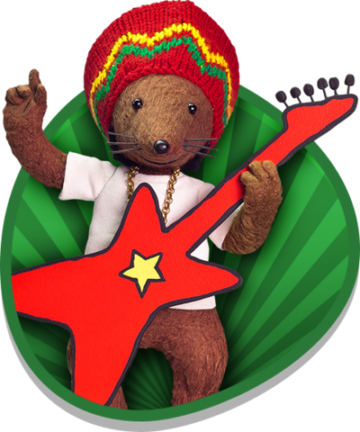 Rastamouse holding his guitar.