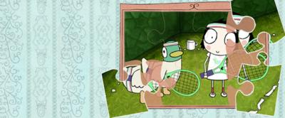 Au unfinished jigsaw with an image of Sarah and Duck wearing tennis clothes.