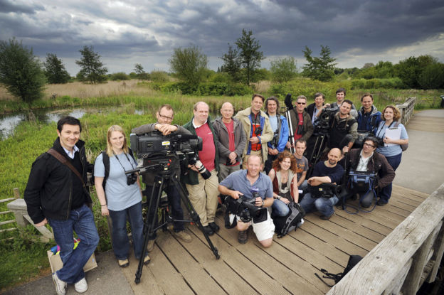 BBC team pictured on a bridge