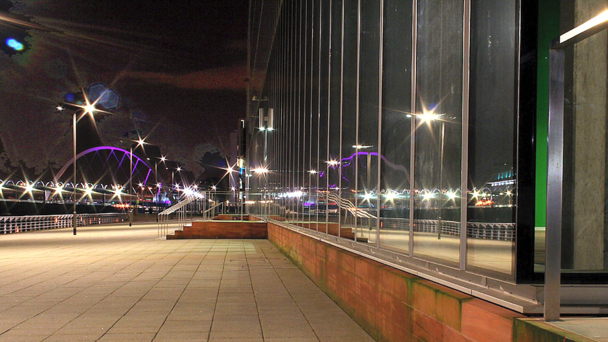 A riverside view of Pacific Quay