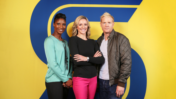 Denise Lewis, Gabby Logan and Iwan Thomas (credit BBC/IMG)